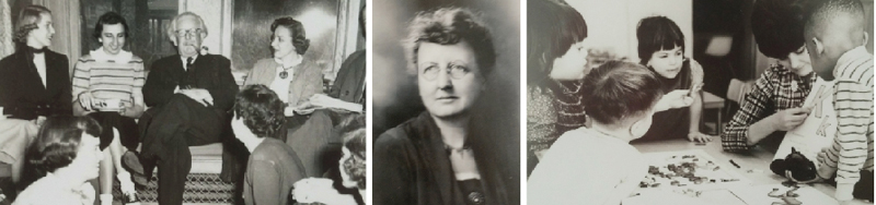 From left: Jean Piaget seated (center); Edna Noble White; Merrill Palmer's Child Development Laboratory, now the Early Childhood Center